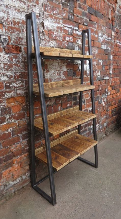 Industrial Chic Reclaimed Custom Trapezium Bookcase Media Shelving Unit - DVD Books Cafe Office Restaurant Furniture Rustic Steel Wood 243