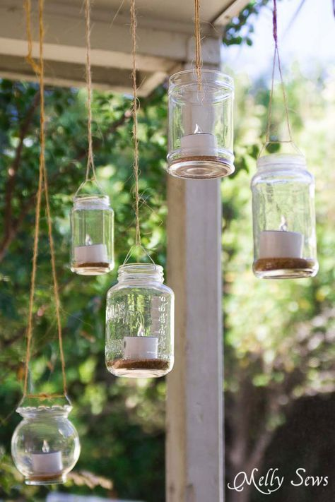 Hanging Solar Tea Lights Melly Sews Diy Outdoor Lighting Diy Patio Decor Outdoor Lighting Design