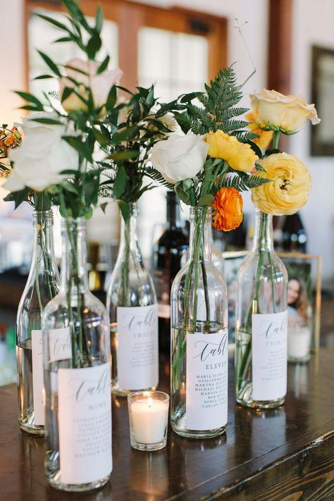 Top 5 Never Been Seen Wedding Table Centerpieces - Put the Ring on It Wine Bottle Centerpieces, Wedding Wine Bottles, Wedding Table Centerpieces, Diy Wedding Decorations, Diy Wedding Table Numbers, Unique Table Numbers, Centerpiece Ideas, Wedding Table Deco, Wedding Table Centres