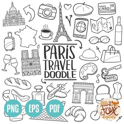 VECTOR EPS PARIS France Europe Travel Friends and Family Trip Holidays Summer Doodle Icons Clipart S