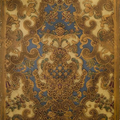 Intricate Rococo Tooled Leather Antique Wallpaper Remnant