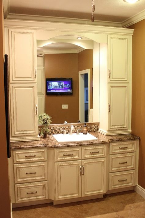 Bath Vanity with tower storage on either side of the sink | New house |  Pinterest | Bath vanities, Sinks and Vanities