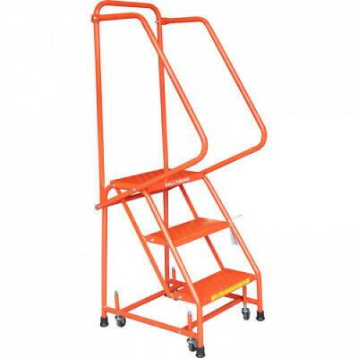 Ad Ebay Url Perforated 16 Inch 3 Step Steel Rolling Ladder 10 Inch Top Step Handrails Orange In 2020 Rolling Ladder Ladder Steel