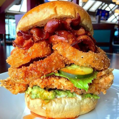 Fried Chicken Burger with Bacon, Onion Rings & Avocado - #avocado #bacon #burger #chicken #comfort #food #foodporn #fried #hungry #onion #rings #yummy