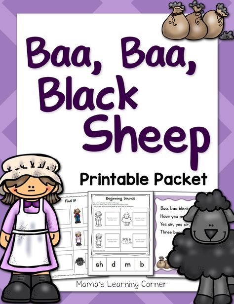 Baa Baa Black Sheep Nursery Rhyme Printable Packet - 41 printable