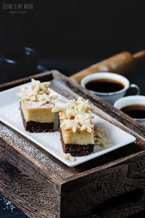 vegan marzipan cheesecake brownie bars | seitanismymotor.com | WholeSoy Unsweetened Plain Yogurt would be perfect in this recipe!