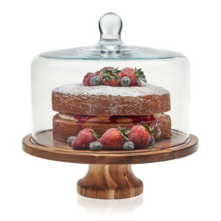 Libbey Acaciawood Footed Round Wood Server Cake Stand With Glass Dome Walmart Com Cake Stand With Dome Wood Cake Stand Wood Cake