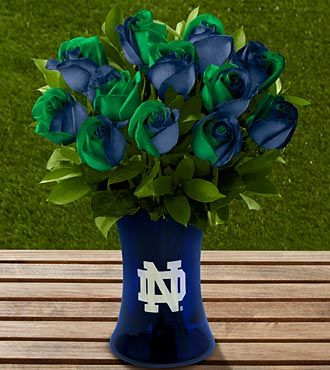 FTD® proudly presents the Notre Dame® Fighting Irish™ Rose Bouquet. Show your colors and pride with this unique rose bouquet celebrating the spirit of a university that rises to every challenge! Remarkable roses display the bold colors of blue and green, and arrive accented with lush greens. Presented in a spirited college themed gift box.