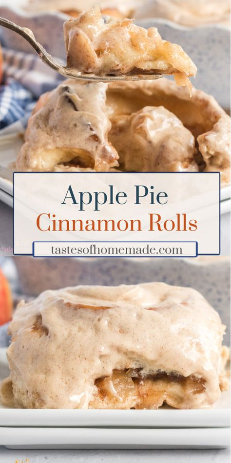 These apple pie cinnamon rolls are gigantic and delicious. These cinnamon rolls are filled with apple pie filling, cinnamon and are topped with a cinnamon cream cheese frosting. Ready in less than two hours these are a delicious treat that taste like they've come from a bakery. #cinnamon #rolls #buns #homemade #easy #quick