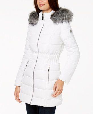 Laundry By Shelli Segal Faux Fur Trim Puffer Coat Women Coats