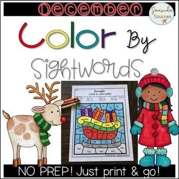 Christmas Color By Sight Word Sight Words Activity Centers Christmas Colors