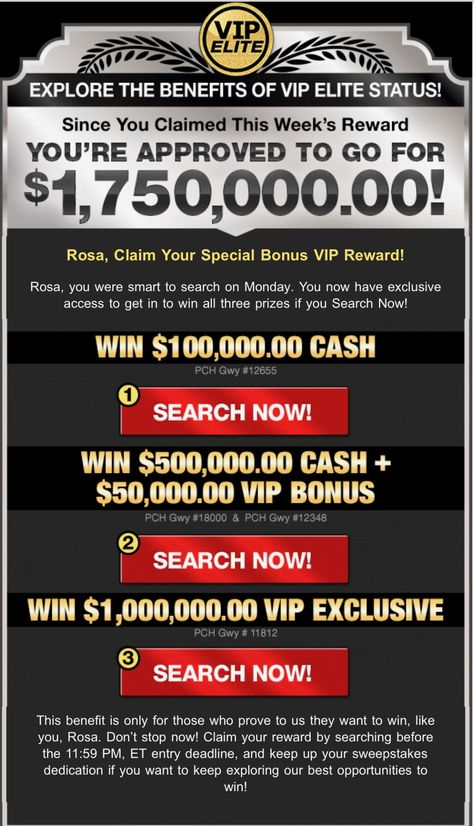 PCH VIP ELITE REWARDS PACKAGE RECOGNITION I ROSA ROJAS CLAIM