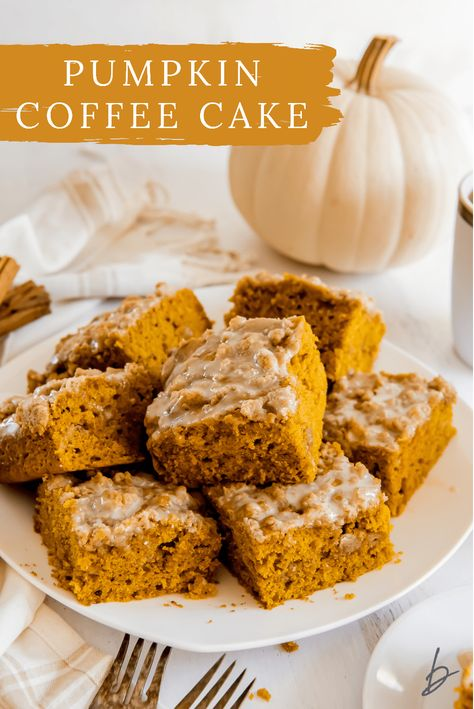 Pumpkin coffee cake is an incredibly flavorful breakfast cake made with pumpkin pie spice and layered with cinnamon streusel.