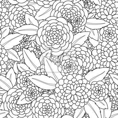 Doodle Blumen Nahtlose Muster Zentangle Stil Blumen Und Blatter Auf Bildern Von Myloview Von Bester Qualitat Bil Blumen Malen Muster Malvorlagen Bunte Bilder