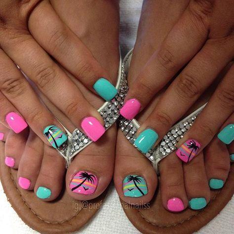37 Trendy Nails Design Summer Beach Pink Palm Trees Summer Toe Nails Cute Toe Nails