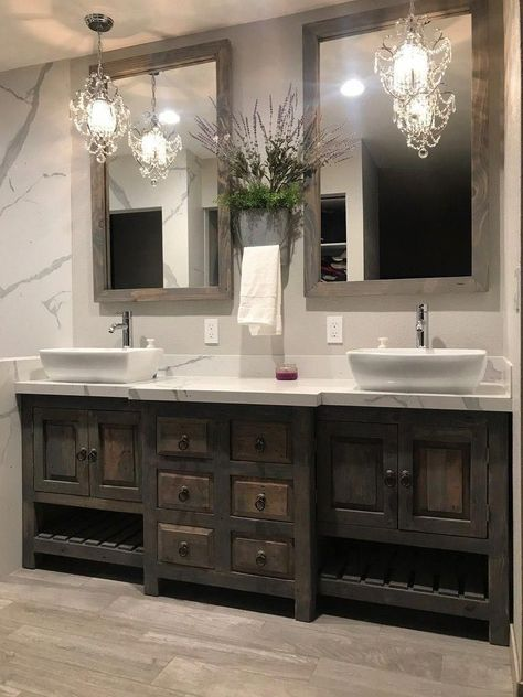 Beautiful master bathroom decor tips. Modern Farmhouse, Rustic Modern, Classic, light and airy master bathroom design ideas. Bathroom makeover tips and master bathroom remodel ideas. Bathroom Faucets, Bathroom Storage, Bathroom Interior, Bathroom Organization, Bathroom Cabinets, Bathroom Mirrors, Bathroom Cleaning, Boho Bathroom, Industrial Bathroom