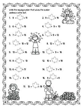 Fall Autumn Addition Subtraction within 20 Worksheets