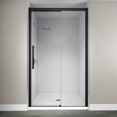 Delta Portman 48 X 71 In Frameless Contemporary Sliding Shower Door In Bronze With Transition Glass Sd2832510 Black Shower Doors Shower Doors Sliding Shower Door