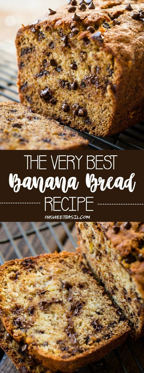 If you are searching for The Very Best Banana Bread Recipe have no fear! I have made over 100 banana bread recipes and finally found the one. This loaf is perfectly moist and filled with mini chocolate chips. Your house will smell like heaven after baking it in the oven! #brunch #breakfast