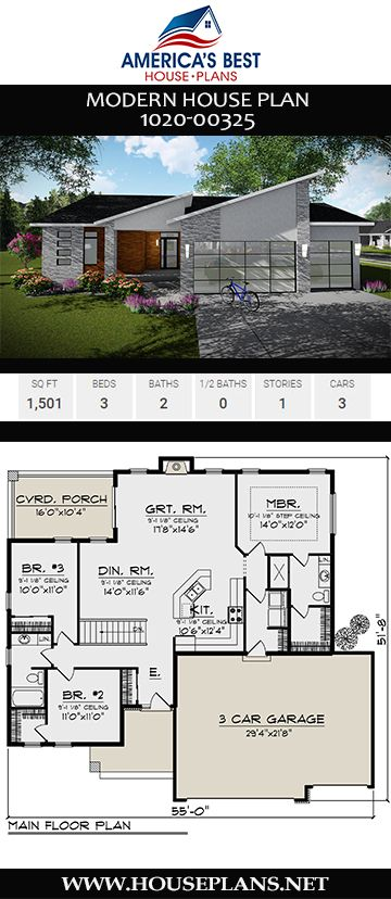 House Plan 1020 00325 Mid Century Modern Plan 1 501 Square Feet 3 Bedrooms 2 Bathrooms House Plans Modern House Plans Modern House Floor Plans
