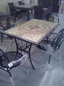 Tavoli Per Esterno In Ferro Battuto.Tavolo In Pietra Mosaico In Ferro Battuto Rettangolare 120x80 Tipo
