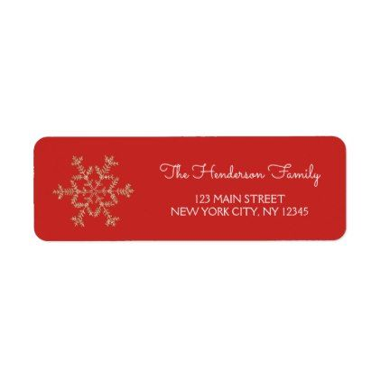 Gold Holiday Christmas Snowflake On Red Background Label Holiday Card Diy Personalize Design Te Christmas Return Address Labels Holiday Card Diy Gold Holiday