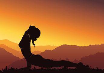 Yoga Background Silhouette Of Woman Doing Yoga On Mountain Vector Illustration Yoga Background Yoga Art Sunset Background
