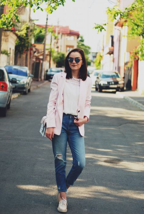 The pink blazer outfit | Simple casual outfits, Pink blazer