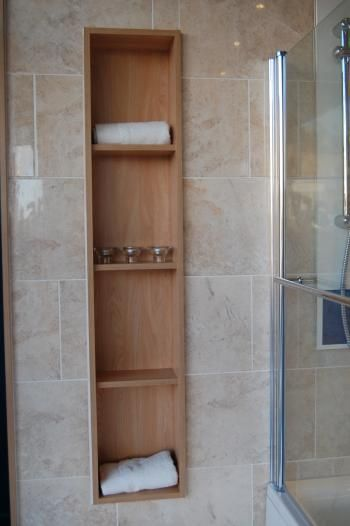 Bathroom Recessed Shelving Add Electrical Outlets And Cover Entire Wall With These