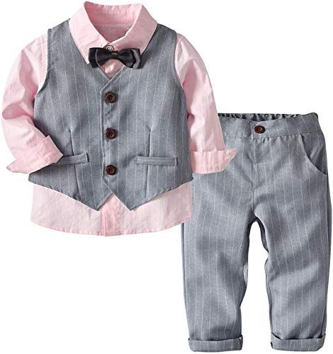 xirubaby Baby Boy 3PCS Wedding Set Shirt Vest and Pant Formal Outfit Suit