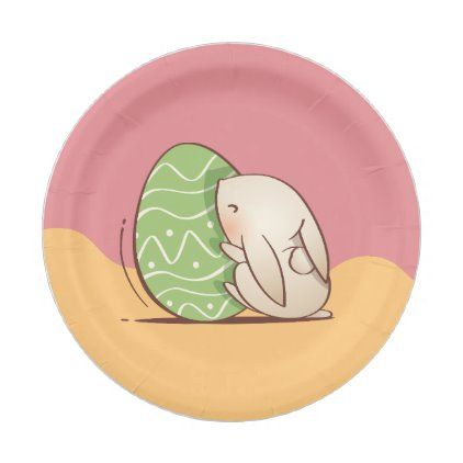 cute bunny pushing green easter egg paper plate zazzle com in 2020 cute bunny easter drawings easter eggs pinterest