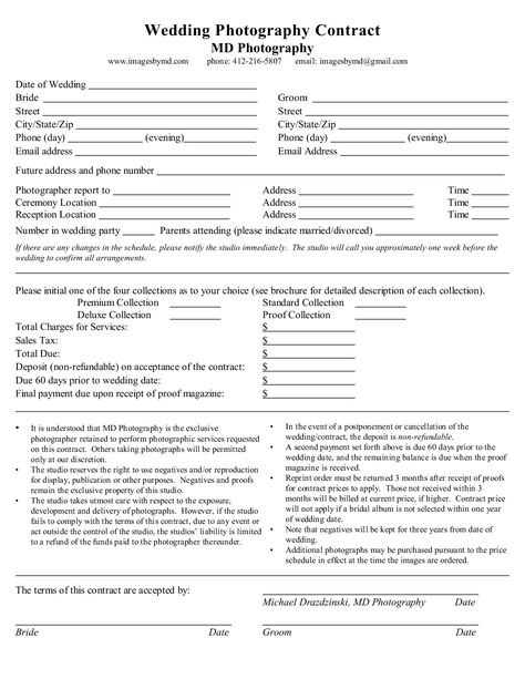 Free Wedding Photography Contract Forms    Download And Print Our