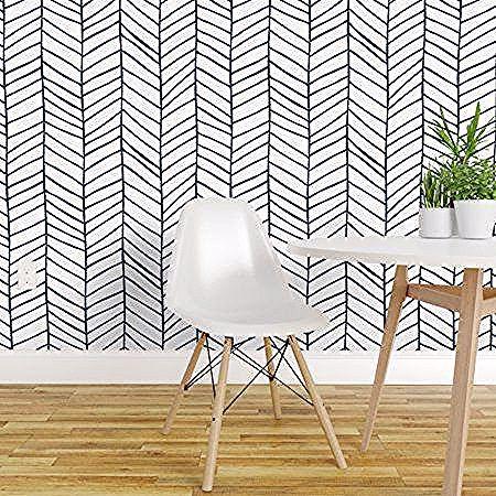 Peel And Stick Removable Wallpaper Herringbone Black And White Modern Chevron In 2020 Herringbone Wallpaper Black And White Wallpaper Removable Wallpaper