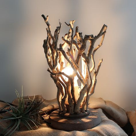 Rustic Handmade Natural Tree Branches 1-Light Twig Table Lamp with Solid Wooden Base