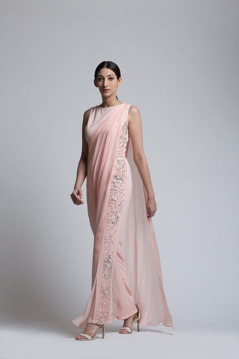 Blush Jumpsuit with a Detachable Drape - Bhaavya Bhatnagar