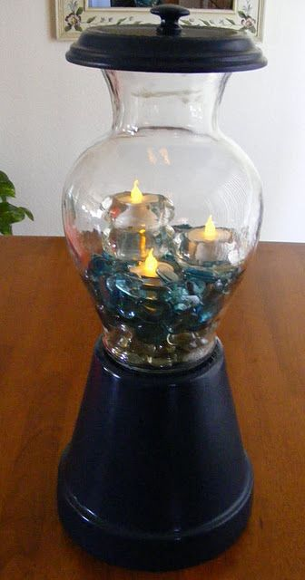 DIY Lighted Home Accent And More   what about putting a solar light ontop to make it more outdoorsy