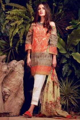 Khaadi 2 Piece Custom Stitched Printed Lawn Suit - Orange - L18105
