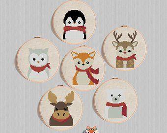 3 Woodland Animals Cards Owl Squirrel Deer Cross Stitch Card Kit