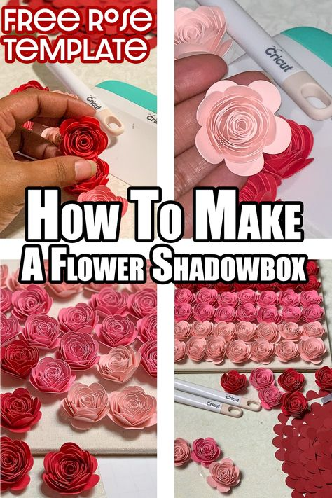 How To Make An Ombre Paper Flower Shadow Box You learned How To Make Paper Rose now what to do with them. One of my favorite paper rose projects is the Ombre paper flower shadow box. Flower Shadow Box, Diy Shadow Box, Rolled Paper Flowers, Tissue Paper Flowers, Diy Paper Roses, Cricut Craft Room, Cricut Vinyl, Cricut Tutorials, Cricut Ideas