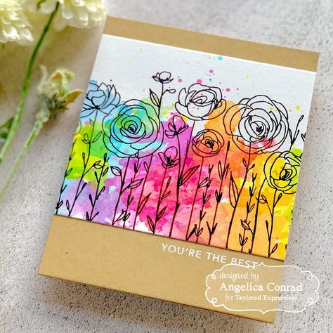 Taylored Expressions | Angelica Conrad | You're the Best | Angelica created this colorful card using Wildflower Background stamp, a sentiment from Dadisms, and a variety of TE watercolors. She used a smooshing technique to create the background. Get instructions on how to recreate this card here.
