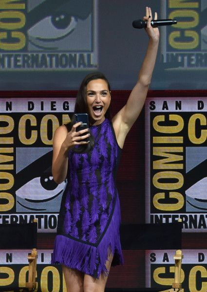 Gal Gadot walks onstage at the Warner Bros. theatrical panel during Comic-Con International 2018 at San Diego Convention Center on July 21, 2018 in San Diego, California.