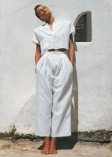 'Free and easy, Anne-Marie Beretta's abbreviated linen sailor shirt neatly coordinates with her big cropped trousers.' - Elle (1985). Ph: Marc Hispard #80sfashion
