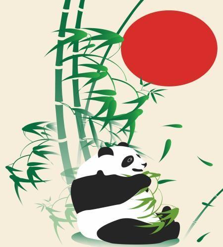 تصميم رسم باندا مع الخيزران وشمس حمراء ملف مفتوح فيكتور Nature Drawing Nature Art Drawings Drawings