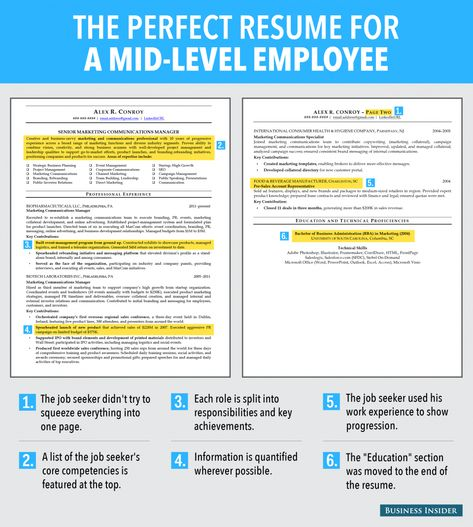 This Is An Ideal Resume For A Mid-Level Employee