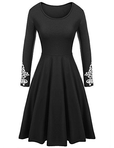 5fc07a142e3d Parabler Damen Skaterkleid Jerseykleid Langarm Casual Stretch Kleid ...