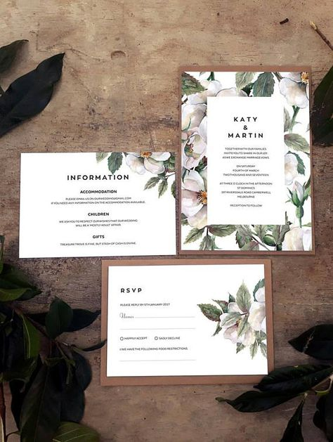 This rustic greenery white floral magnolia design is a complete printable wedding suite which includes editable templates for matching Invitations, RSVP, Enclosure Card, Thank You, Save The Date and other DIY reception cards including Place Cards, Menus, Favor Tags, Seating Plan, Table Numbers and Wedding Programs.   #rusticinvitations #floralwedding #floralinvitations #greenerywedding #summerwedding