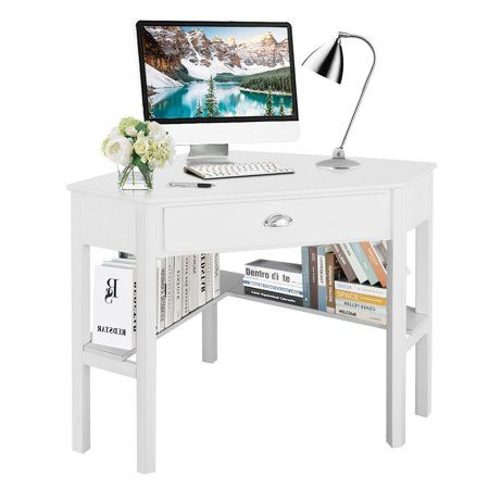 Costway Corner Computer Desk Laptop Writing Table Wood Workstation Home Office Furniture White Walmart Com In 2020 Desks For Small Spaces Corner Computer Desk Cheap Office Furniture
