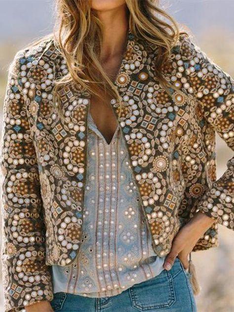 Khaki Cotton-Blend Long Sleeve Tribal Outerwear - Khaki S