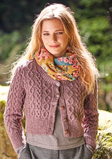 Skipness Cropped Aran Cardigan Free Knitting Pattern Knitting
