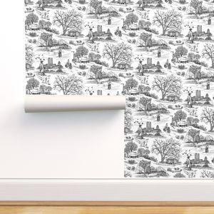 Austin Texas Toile White Spoonflower Self Adhesive Wallpaper Wallpaper Peel And Stick Wallpaper